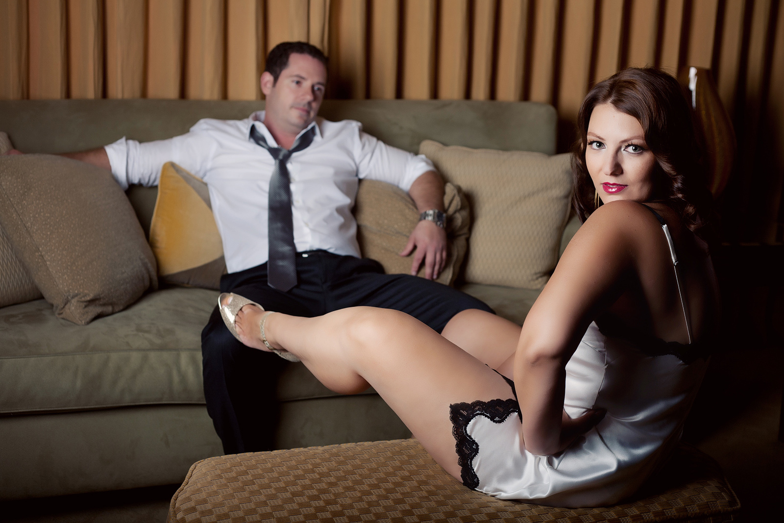 Mad men style boudoir photography shoot for a couple.