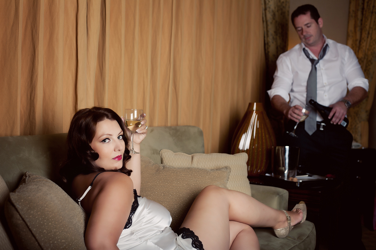 Couples boudoir mad men style