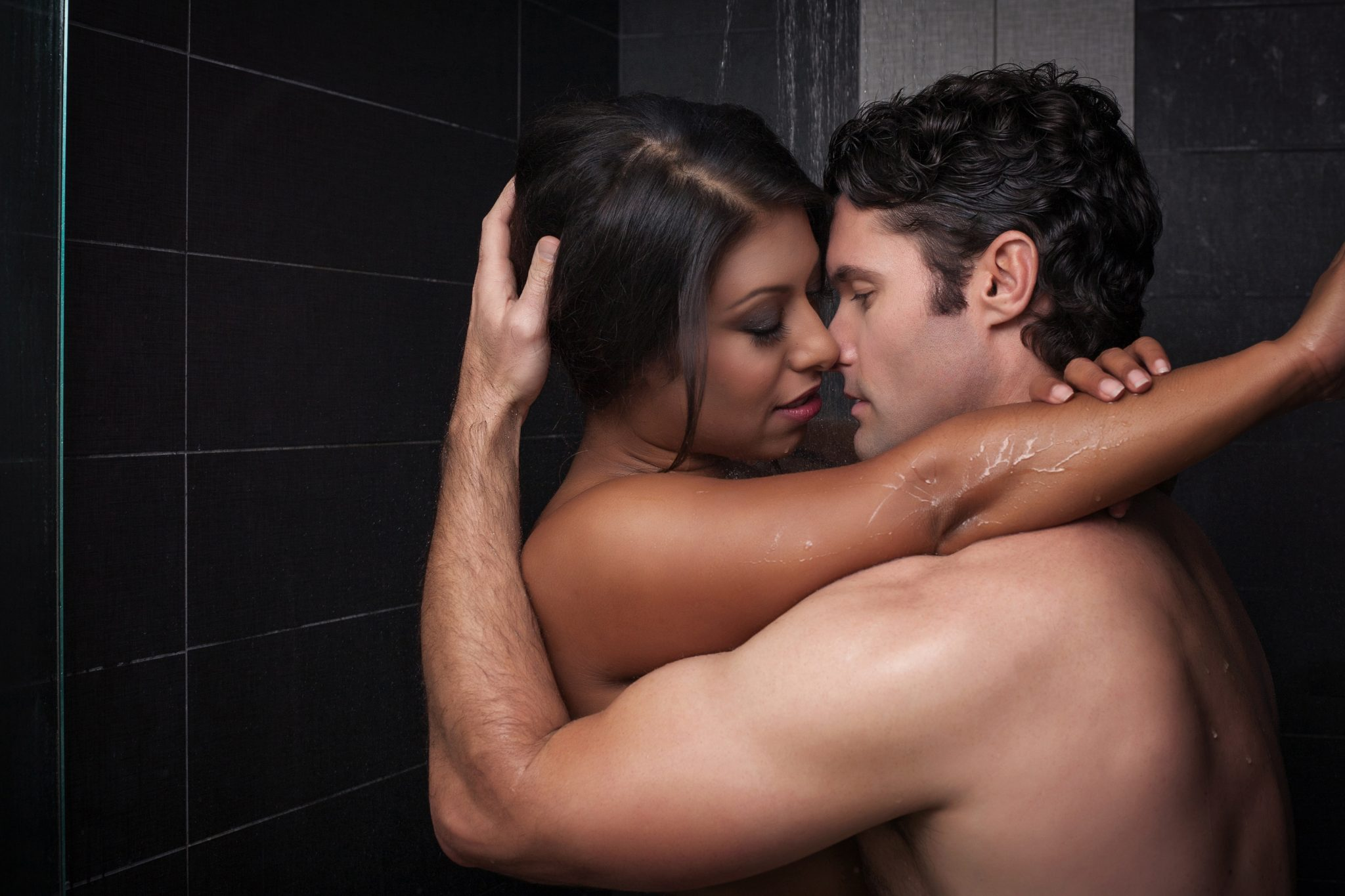 steamy shower scene for couples boudoir photo