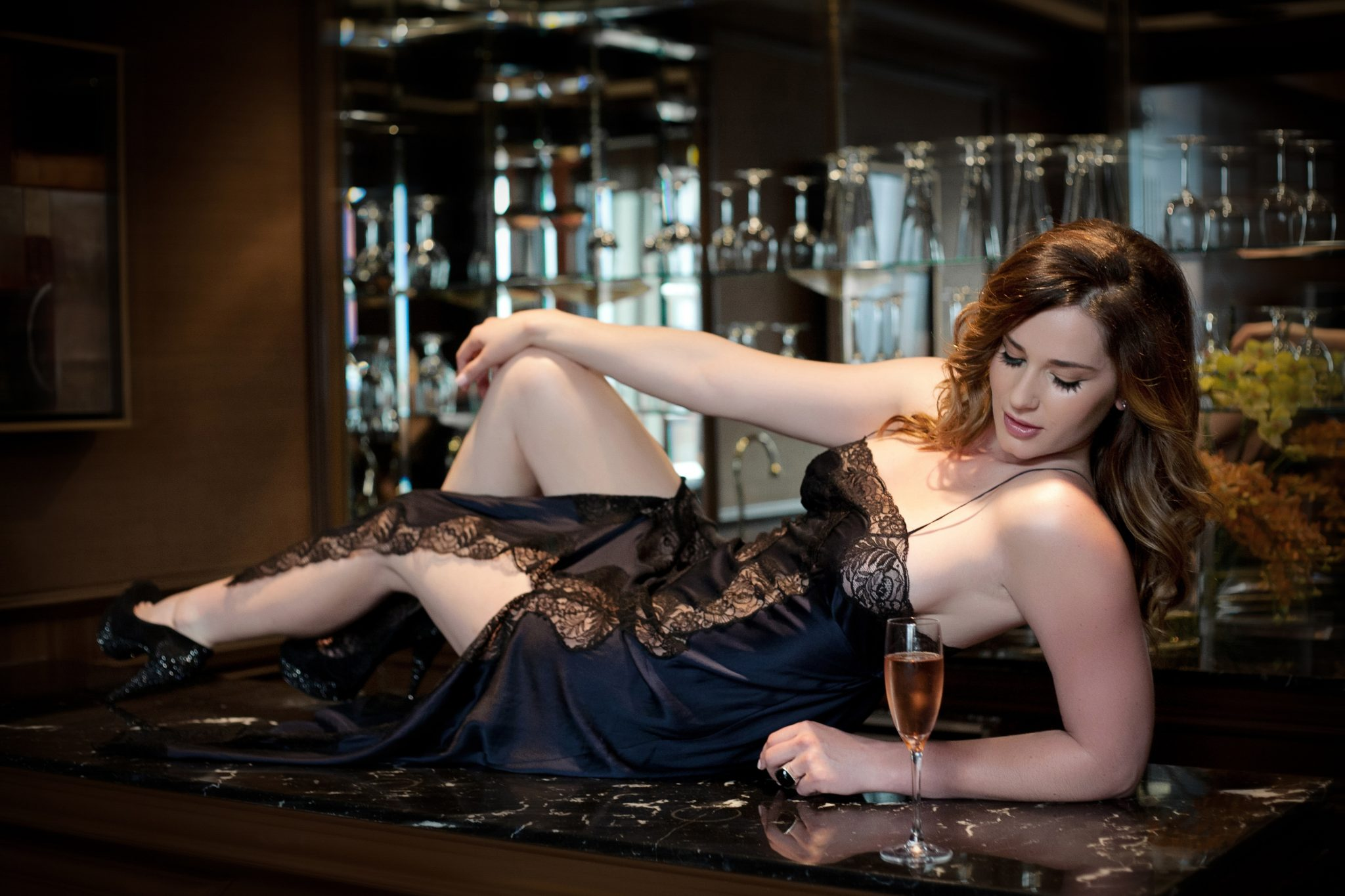 Soft to the touch satin slip is a perfect lingerie look for boudoir with Stacie Frazier of Haute Shots in Vegas.