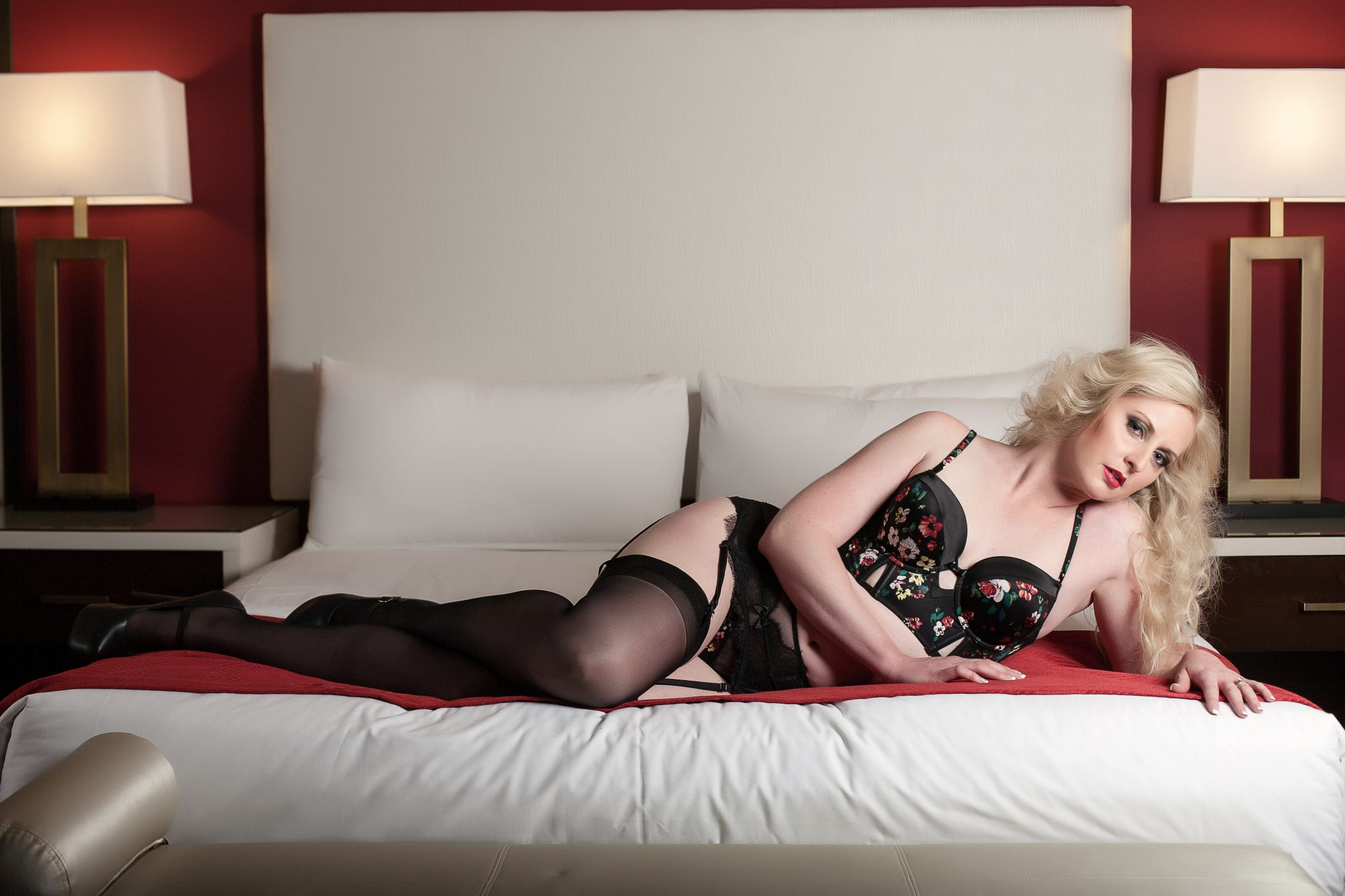 intimate portraiture in red lingerie.