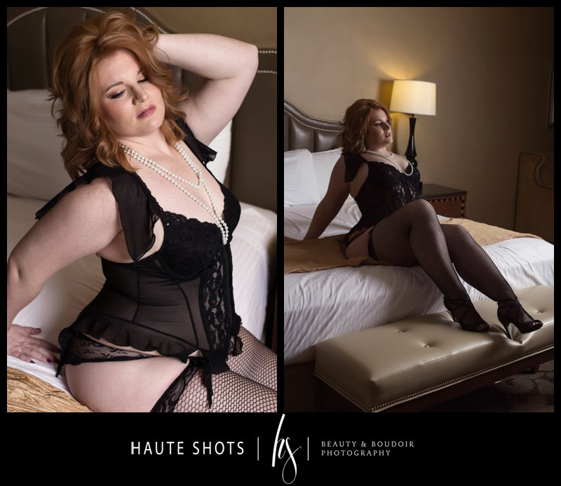 intimate portraits for women. black lingerie, red hair