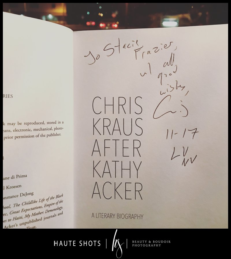 favorite author, Chris Kraus, After Kathy Acker, book signing, las vegas