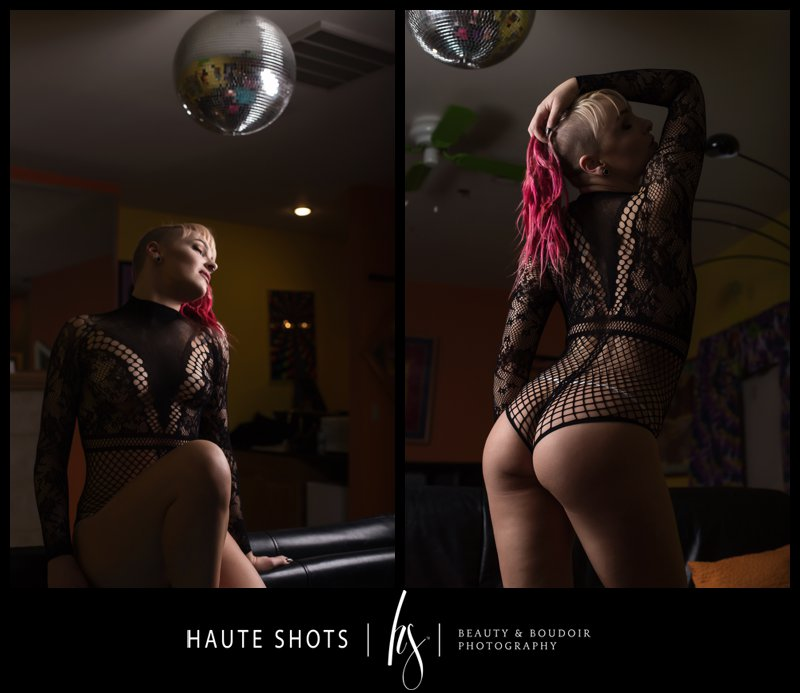 Blonde and pink hair in colorful room. Boudoir photography Vegas. Haute Shots. Sheri's Ranch. disco ball.