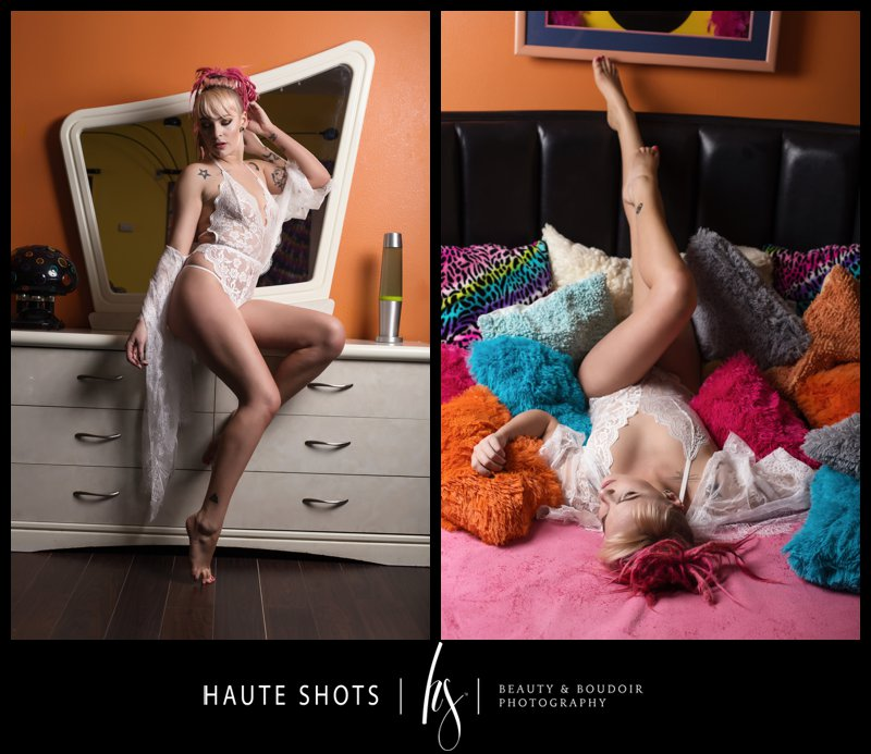Blonde and pink hair in colorful room. Boudoir photography Vegas. Haute Shots. Sheri's Ranch.