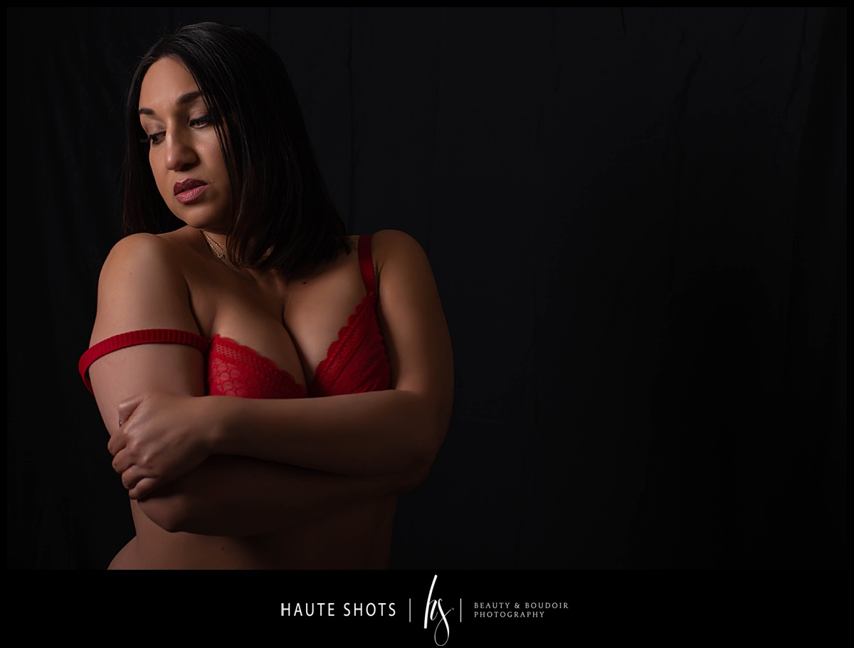 Boudoir photography, red bra, for What's Sexy Now Haute Shots blog series